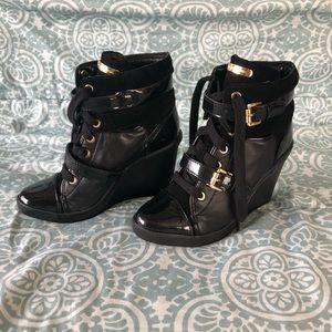 Michael Kors Black Skid Wedge Leather Sneakers